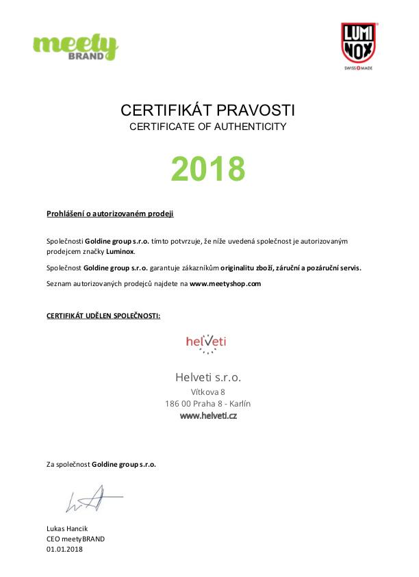 Certifikát luminox prodejce hodinek Helveti s.r.o.