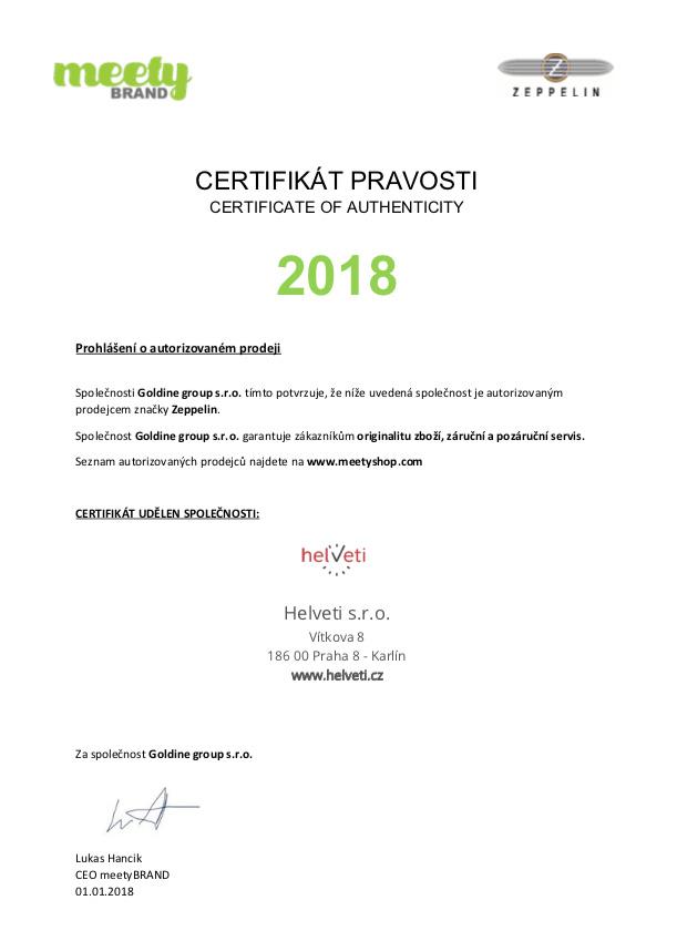 Certifikát zeppelin prodejce hodinek Helveti s.r.o.