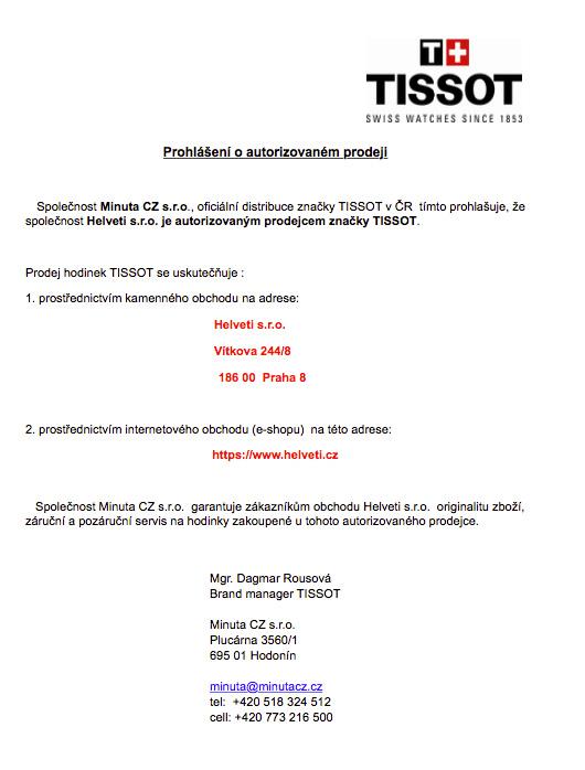 Certifikát Tissot prodejce hodinek Helveti s.r.o.