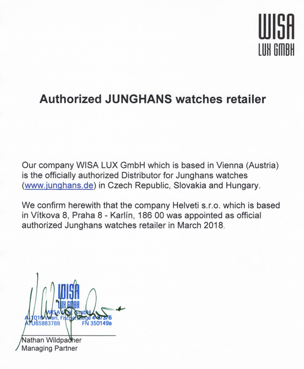 Certifikát Junghans prodejce hodinek Helveti s.r.o.