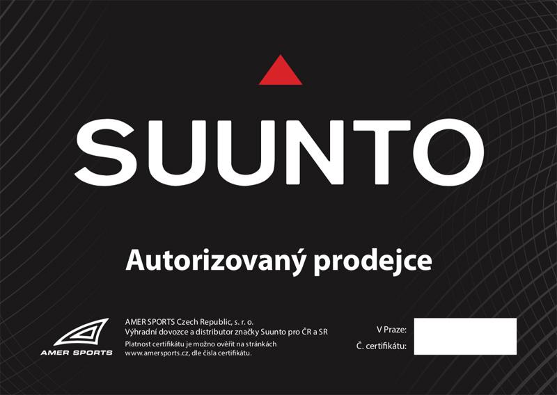 Certifikát Suunto prodejce hodinek Helveti s.r.o.