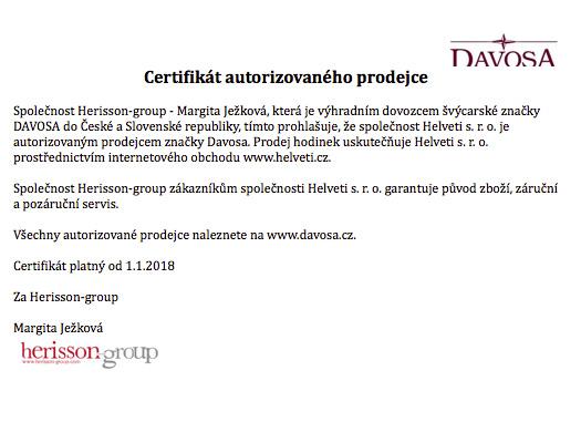 Certifikát Davosa prodejce hodinek Helveti s.r.o.
