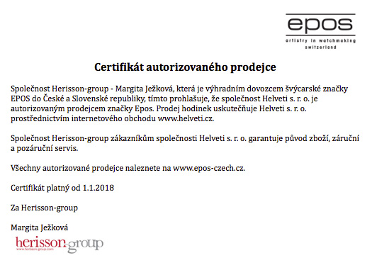 Certifikát Epos prodejce hodinek Helveti s.r.o.