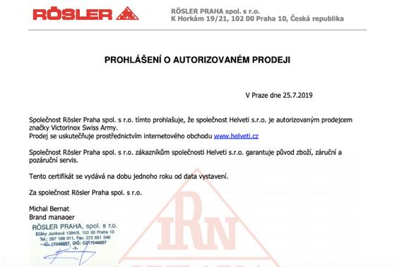 Certifikát Victorinox prodejce hodinek Helveti s.r.o.