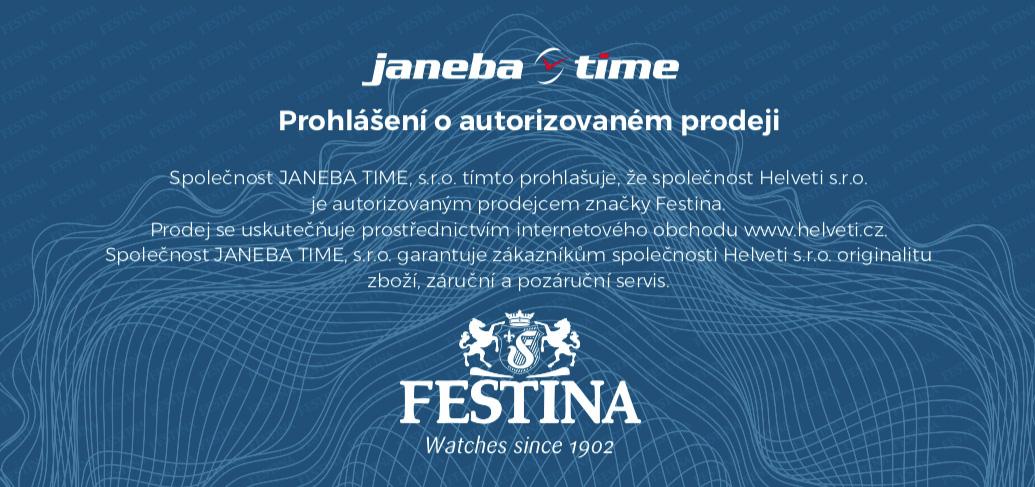Certifikát Festina prodejce hodinek Helveti s.r.o.
