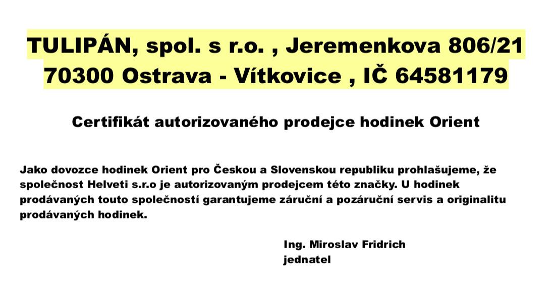 Certifikát Orient prodejce hodinek Helveti s.r.o.