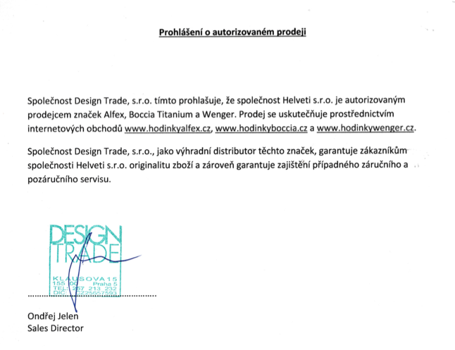 Certifikát hodinky Boccia Titanium