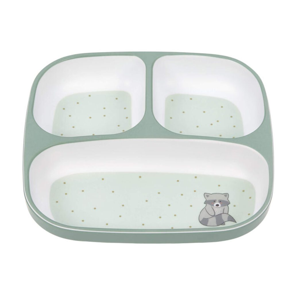Lässig 4babies Plate Section Melamine/Silicone About Friends racoon