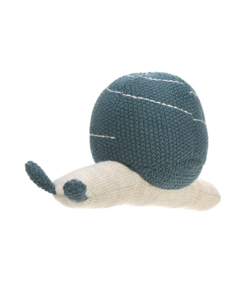 Lässig 4babies Knitted Toy with Rattle Garden Explorer snail blue