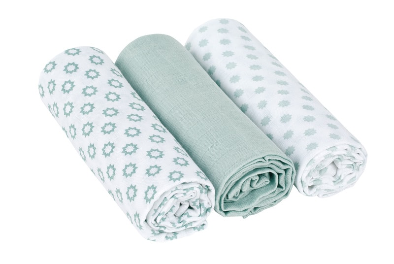 Lässig Swaddle Burp blanket 85x85 Little Chums Star light mint