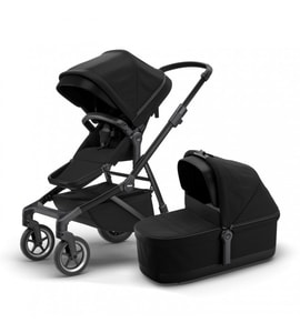 THULE Sleek + Bassinet: Midnight Black on Black (sporťák + korbička)