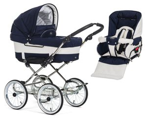 Emmaljunga set Chassis Duo de Luxe chrome 2020 17184 + 18924 navy