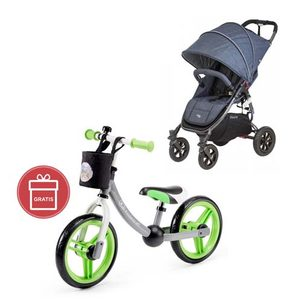 valco baby Snap 4 Sport Tailor Made Denim + Detské odrážadlo 2WAY Next Green/Gray