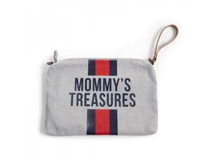 Childhome Pouzdro na zip s poutkem Grey Stripes Red/Blue