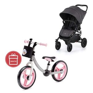 valco baby Snap 4 Sport Flat Matte LTD Edition Signature Grey + Detské odrážadlo 2WAY Next Light pink