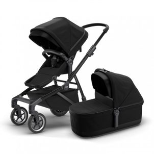 Thule Sleek + Bassinet Black on Black (sporťák + korbička)