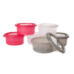 Bo Jungle misky s víčky Bowls Pink/White/Grey 300ml (6ks)