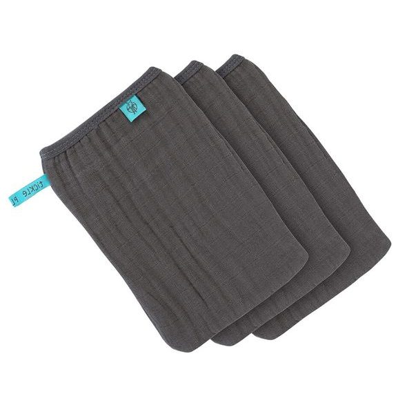 LÄSSIG 4BABIES MUSLIN WASH GLOVE SET 3 PCS ANTHRACITE