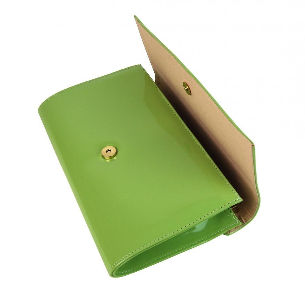 78bf62293f ... Luxusní zelená lakovaná dámská listová kabelka   psaní SP100