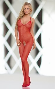 Bodystocking Fishnet red