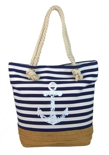537b6b77f2 Modro-bílá lehká plážová taška s kotvou 068-2 - CAVALDI - BEXIS.cz