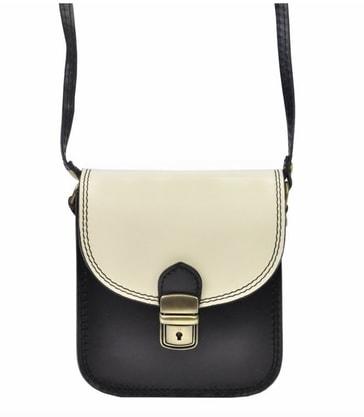 fb5cd9747d Kožená malá dámská crossbody kabelka černo-bílá - Patrizia Piu ...