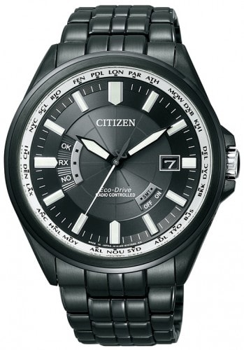 Citizen Mens Eco-Drive Black Stainless-Steel CB0014-52E