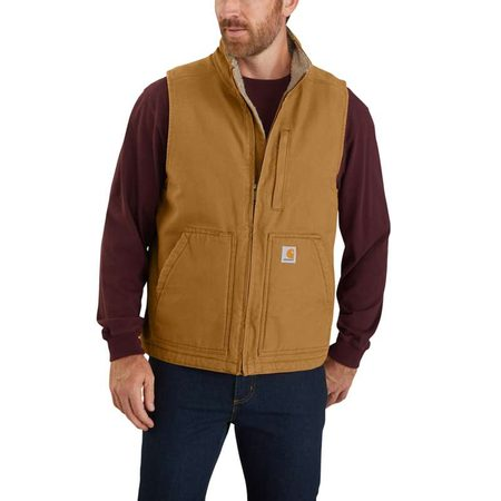 Vesta Carhartt -104277 BRN  Washed Duck Lined Mock Neck Vest