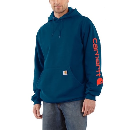 K288 475 Midweight Signature Sleave Logo Hooded Swearshirt
