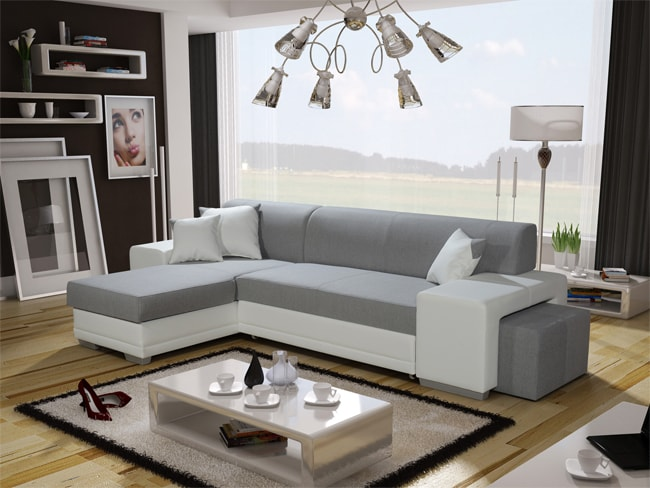 SOB FURNITURE Rohová sedací souprava VERA s taburetem bílá / světle šedá