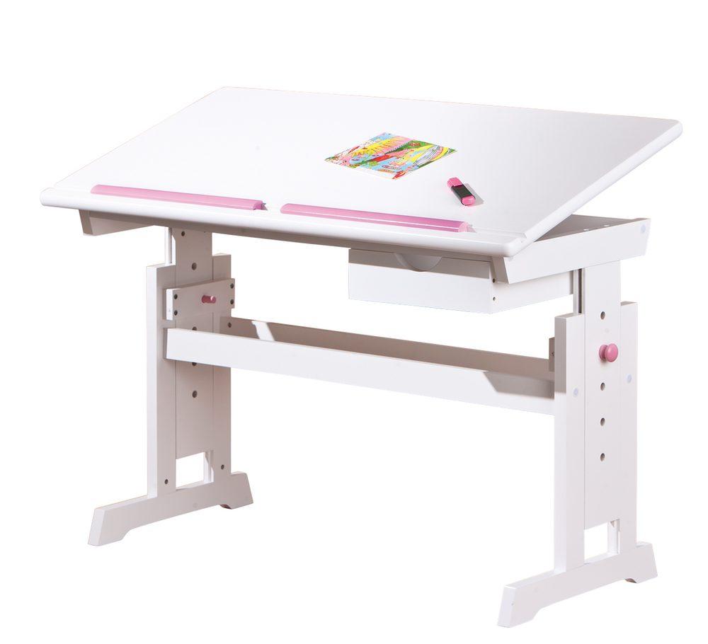 Psací stůl s regulovatelnou výškou BARU, bílý/růžový