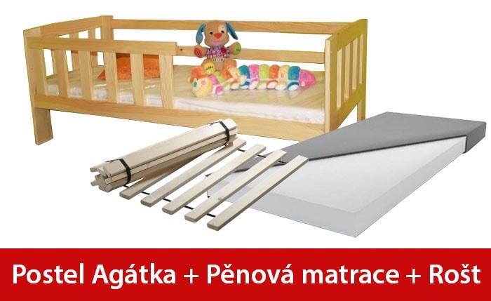 Maxi-drew Postel AGÁTKA 70 x 160 cm + pěnová matrace + rošt dekor dub