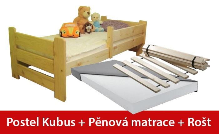 Maxi-drew Postel KUBUS 80 x 160 cm + pěnová matrace + rošt dekor ořech