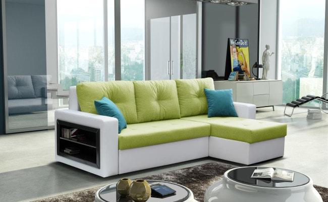 SOB FURNITURE Rohová sedací souprava FORTE bílá / světle zelená