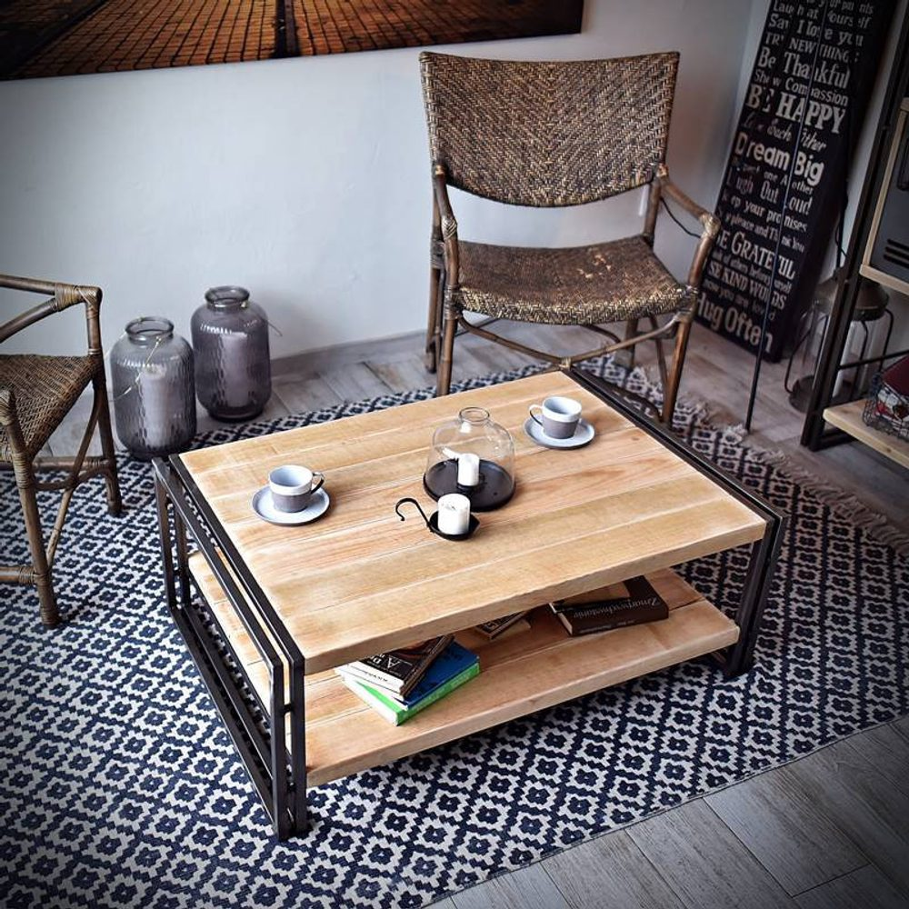 Seart Kovový konferenční stolek STEEL WOOD
