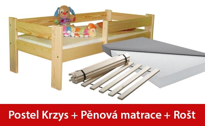 Maxi-drew Postel KRZYS 70 x 160 cm + pěnová matrace + rošt dekor dub