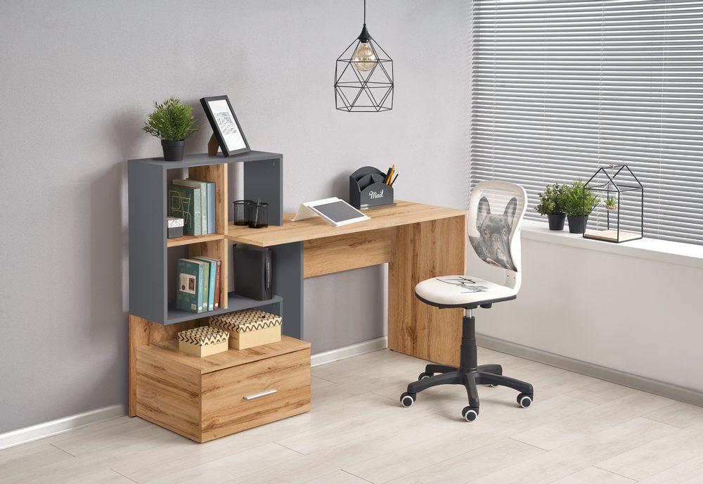 Halmar GROSSO desk votan oak / anthracite