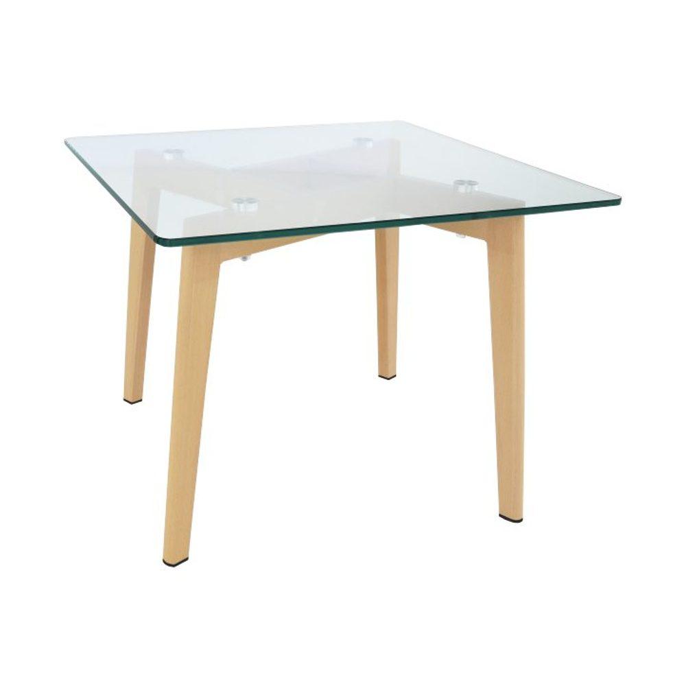 Konferenční stolek, sklo / kov s úpravou buk, PEDREK Typ 1