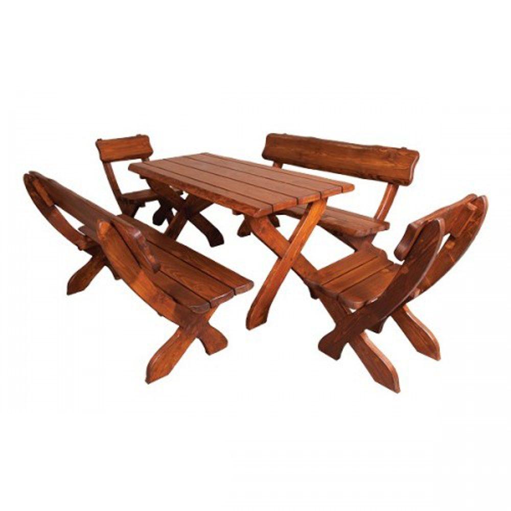 Drewmax Dřevěný zahradní set, 2židle+2lavice+stůl, MO230