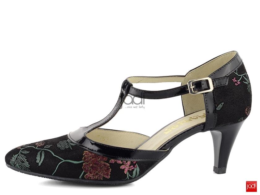 860c8e6338 Barton květované lodičky s T páskem černé 1762 - Barton - Lodičky - JADI.cz  - ...více než boty