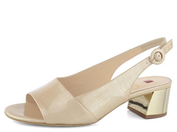 e6590bdd5bb5 Högl sandály se zlatým podpatkem natur 7-102105 Dámské lakované sandály ve  světle béžové barvě s koženou podešví a luxusním stabilním podpatkem ve  zlaté ...