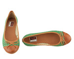 Filipe Shoes baleríny verde/camel