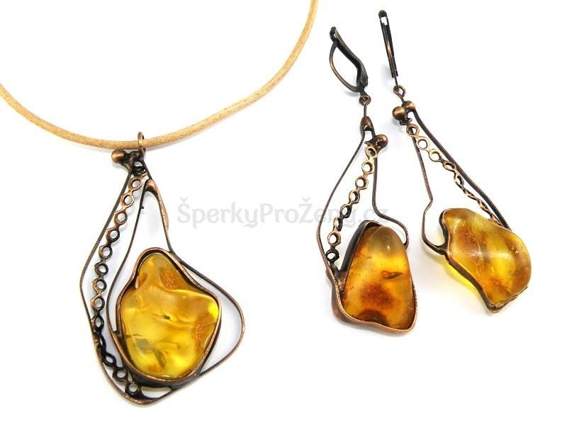 d487c70d2 Souprava Jantar náhrdelník a náušnice VEGA - Šperky pro ženy
