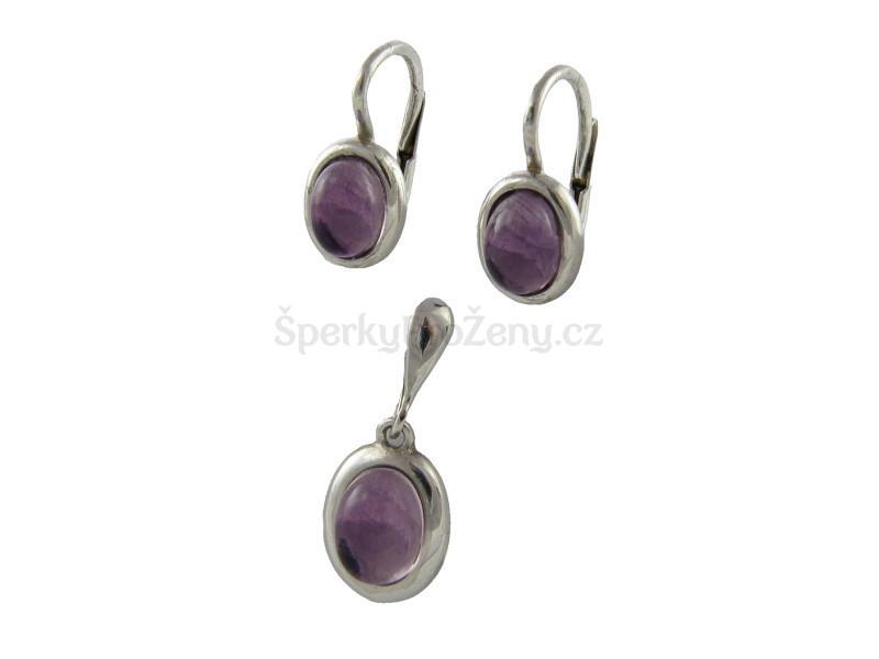 4773b07d9 Stříbrné šperky Ametyst ovál Ag925 - Šperky pro ženy