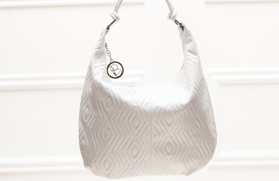 6cfd128072 Glamadise.sk - Dámska kožená kabelka cez rameno s kruzky s motívom - bielo  sivá - Glamorous by GLAM - Kožené kabelky - - GLAM
