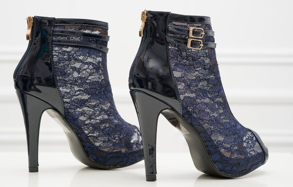 810618f382 Glamadise.sk - Dámska členková obuv s čipkou tmavo modrá - GLAM GLAMADISE  shoes - Kotníkové - Dámske topánky - GLAM