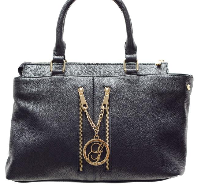 44fe8c150b Glamadise.sk - Dámska kožená kabelka s 2 zips čierna - Glamorous by GLAM - Kožené  kabelky - - GLAM