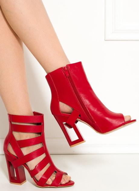 e35deefa5e Glamadise.sk - Dámske remienkové sandále na podpätku červené -  GLAM GLAMADISE shoes - Kotníkové - Dámske topánky - GLAM