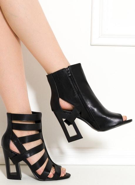 c415844c1f Glamadise.sk - Dámske remienkové sandále na podpätku čierne -  GLAM GLAMADISE shoes - Kotníkové - Dámske topánky - GLAM