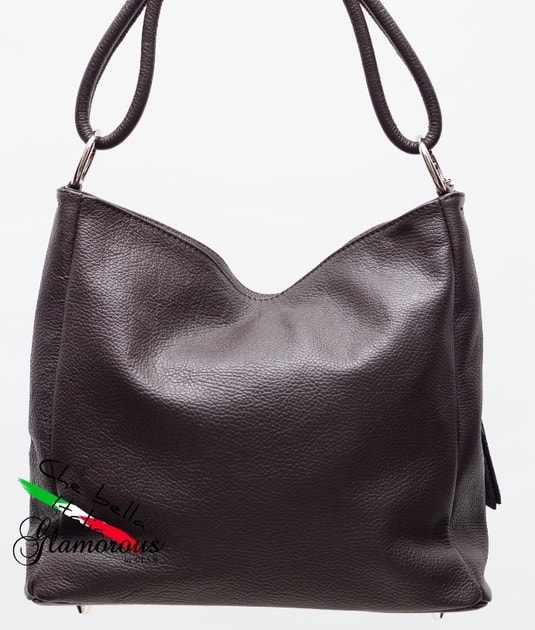 5790a562cd Glamadise.sk - Dámska kožená kabelka cez plece - tmavo hnedá - Glamorous by  GLAM - Kožené kabelky - - GLAM